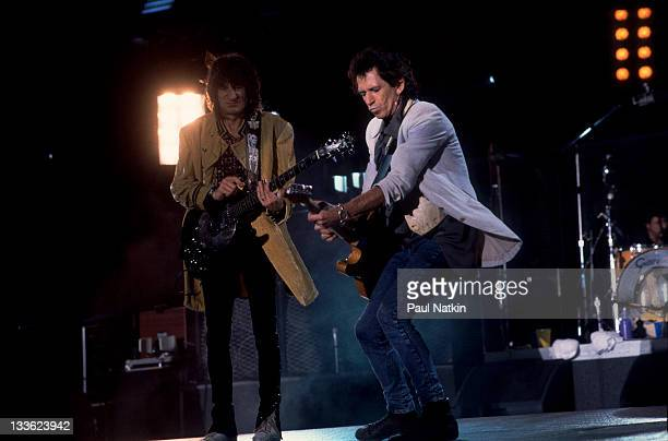 British musicians Ron Wood and Keith Richards of the Rolling Stones perform on stage during the band's 'Voodoo Lounge' tour late 1994