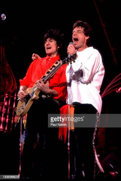 British musicians Ron Wood and Mick Jagger of the Rolling Stones performs on stage during the band's 'Steel Wheels' tour late 1989