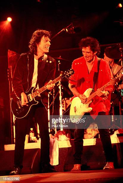 British musicians Ron Wood Mick Jagger and Keith Richards of the Rolling Stones perform on stage during the band's 'Voodoo Lounge' tour late 1994