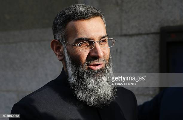 British muslim cleric Anjem Choudary arrives at the Old Bailey in London for the start of his trial on January 11 2016 Choudary and Mohammed Rahman...
