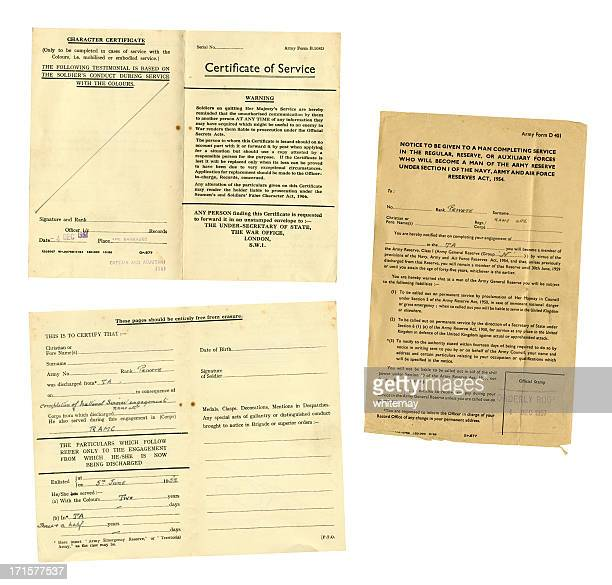 British National Service de la décharge documents, 1957