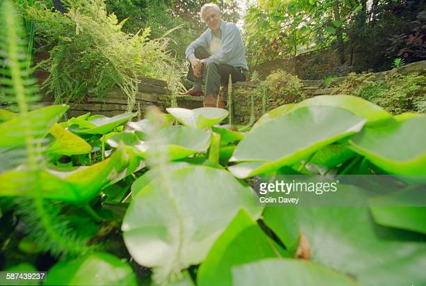 British naturalist and broadcaster David Attenborough in the garden of his home UK 21st September 1998