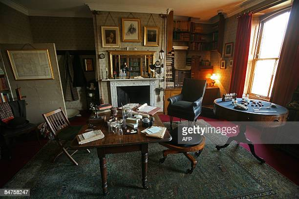 British naturalist Charles Darwin's study is pictured at Down House Bromley Kent on February 12 2009 Darwin moved into Down House in 1842 He...