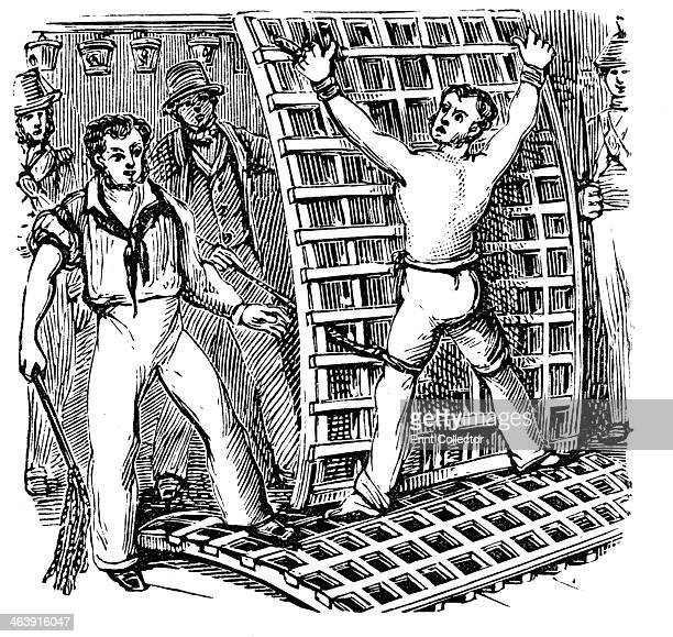 British naval discipline 19th century A sailor tied to the grating being flogged with a catoninetails In 1867 Parliament abolished flogging in the...