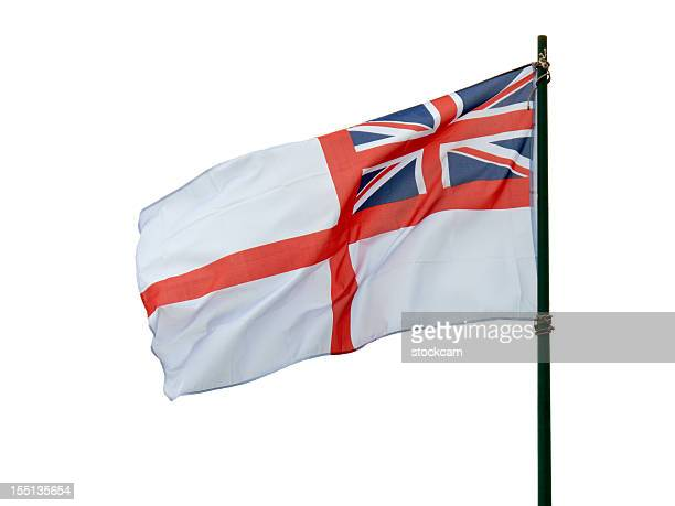 british navy flag on white - royal navy stock pictures, royalty-free photos & images