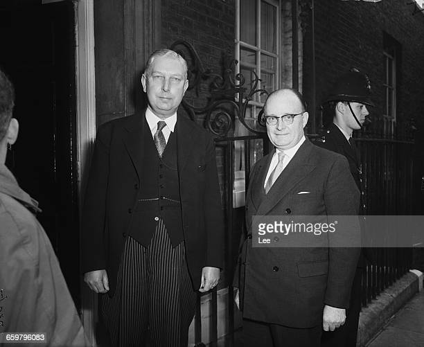 British neurologist Sir Russell Brain and Dr A Talbot Rogers outside 10 Downing Street before a meeting to discuss a doctors' pay claim with Prime...