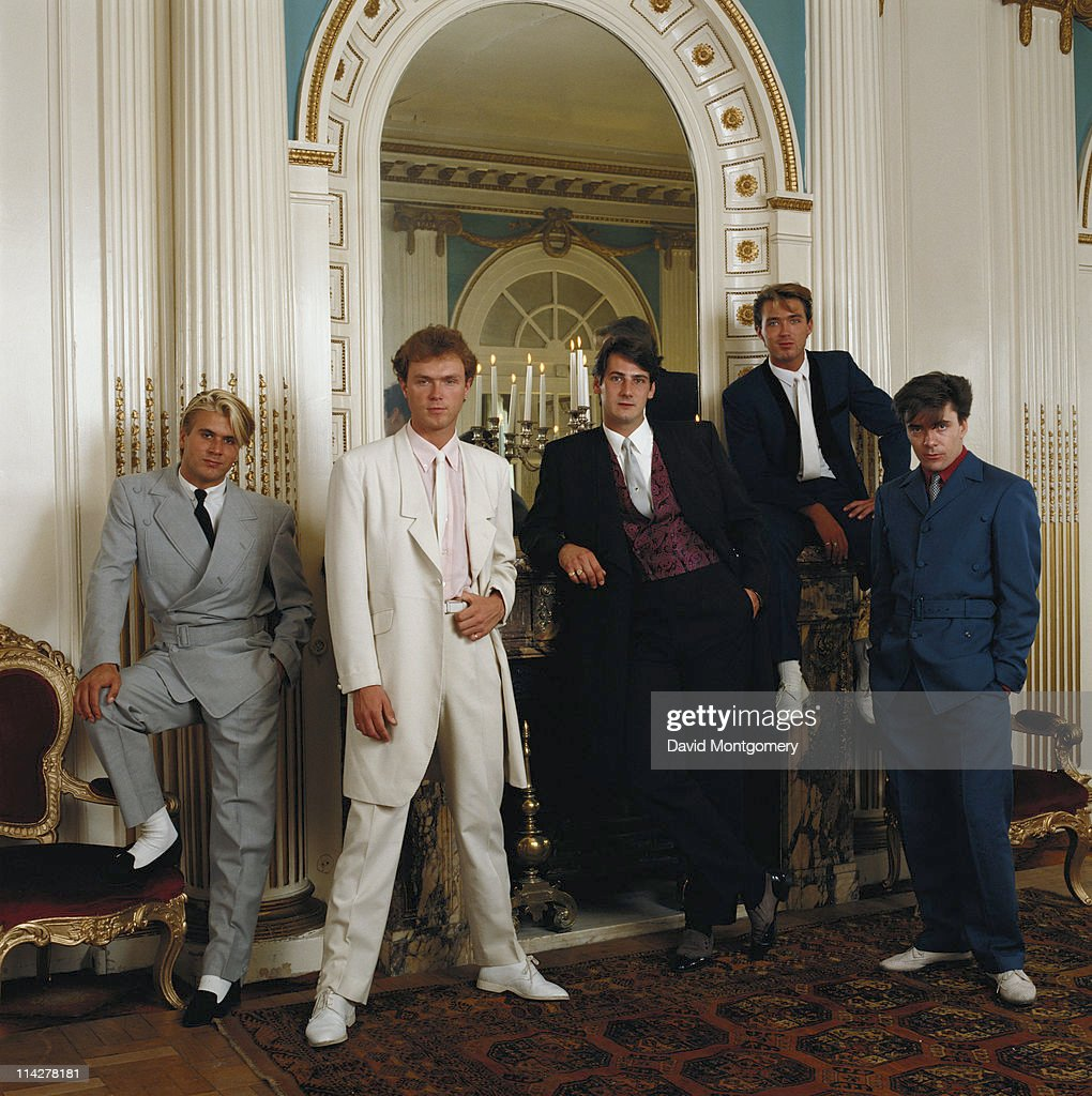 British New Romantic band Spandau Ballet, circa 1985. From left to right, they are Steve Norman, Gary Kemp, Tony Hadley, Martin Kemp and John Keeble.