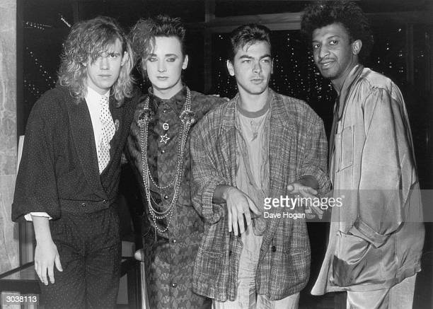 British new romantic pop group Culture Club at the Montreux pop festival in Switzerland May 1985 Left to right Roy Hay lead singer Boy George Jon...