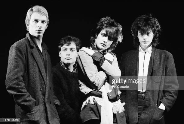 Siouxsie and the Banshees bassist Steven Severin drummer Budgie singer Siouxsie Sioux and guitarist John McGeoch British New Wave band pose for a...