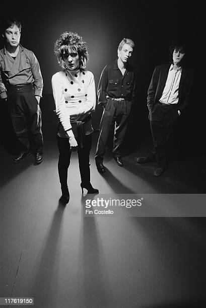 Siouxsie and the Banshees bassist Steven Severin singer Siouxsie Sioux drummer Budgie and guitarist John McGeoch British New Wave band pose for a...