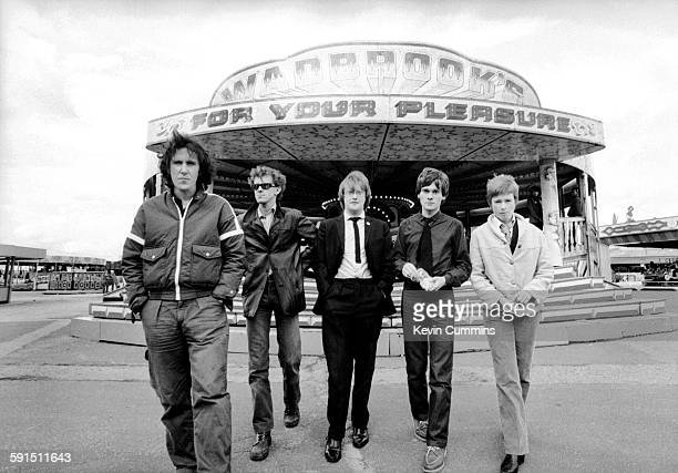 British new wave band The Distractions at the amusement park in Belle Vue Manchester 22nd August 1979 Left to right drummer Alec Sidebottom guitarist...