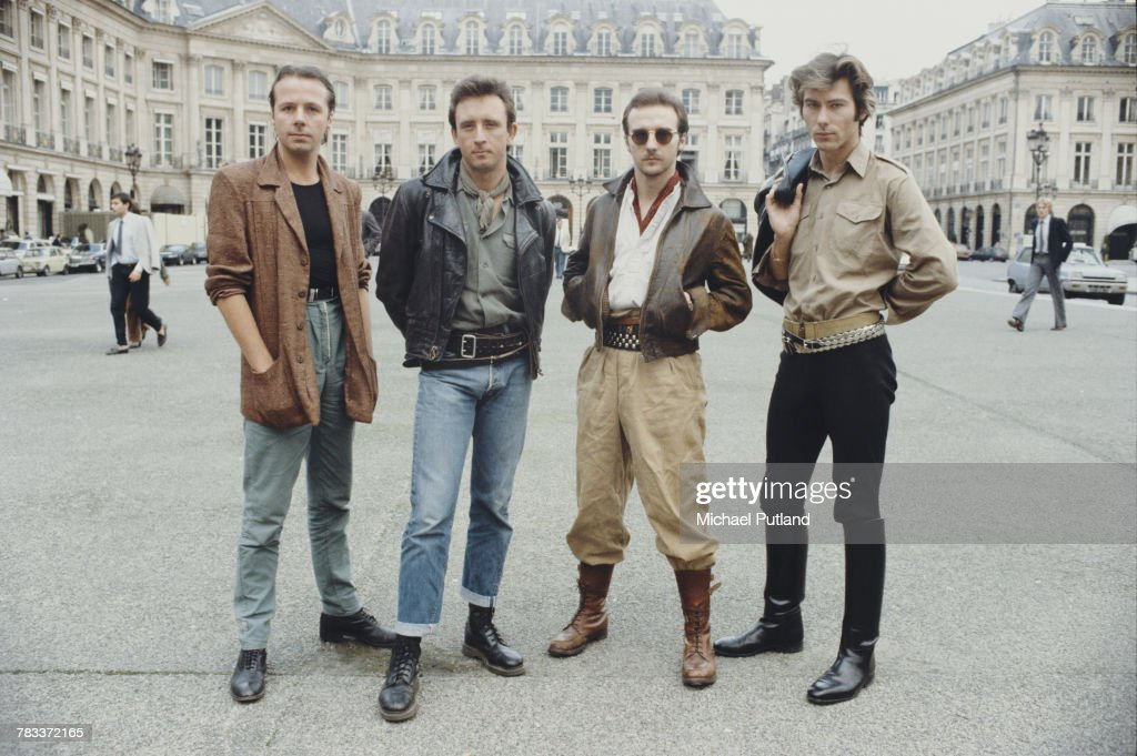 British new wave group Ultravox posed together in Paris, France in 1982. Left to right: keyboard player Billy Currie, bassist Chris Cross, singer Midge Ure and drummer Warren Cann.