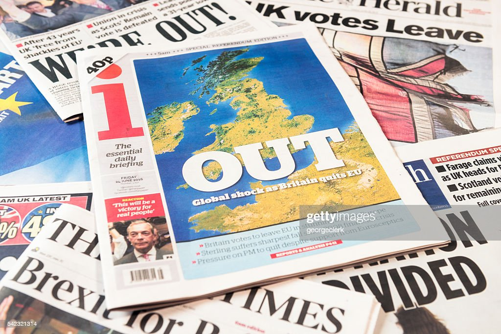 British newspaper frontpages following Brexit vote result : Stock Photo