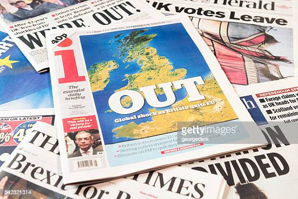 british newspaper frontpages following brexit vote result - brexit stock pictures, royalty-free photos & images