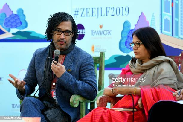 British Nigerian writer broadcaster presenter and filmmaker David Olusoga and Indian writer Rakhshanda Jalil during The World's War Forgotten...