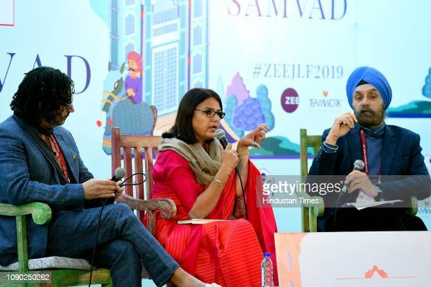 British Nigerian writer broadcaster presenter and filmmaker David Olusoga and Indian writer Rakhshanda Jalil in conversation with Navtej Sarna during...