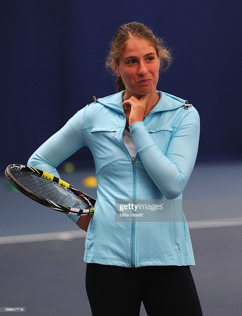 British no3 Johanna Konta checks her pulse whilst preparing for Aegon International with Cardio Tennis at the Brighton Virgin Active and Racket Club on May 13, 2013 in Brighton, England.