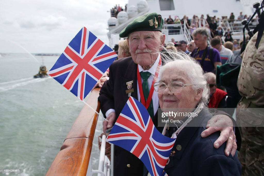 British Normandy Veteran Pat Churchill, 90, who was with the 2nd Royal Marines Armoured Support Regiment which landed on Juno Beach on D-Day, and his wife Karin, 84, catch a Brittany ferry to Caen to commemorate the 70th anniversary of D-Day, on June 3, 2014 in Portsmouth, England. Friday 6th June is the 70th anniversary of the D-Day landings which saw 156,000 troops from the allied countries including the United Kingdom and the United States join forces to launch an audacious attack on the beaches of Normandy, these assaults are credited with the eventual defeat of Nazi Germany. A series of events commemorating the 70th anniversary are planned for the week with many heads of state travelling to the famous beaches to pay their respects to those who lost their lives.