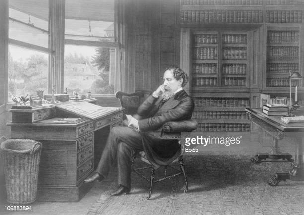 British novelist Charles Dickens sat in his study in Gads Hill near Rochester Kent circa 1860