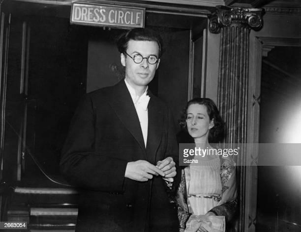 British novelist essayist and poet Aldous Huxley at the theatre