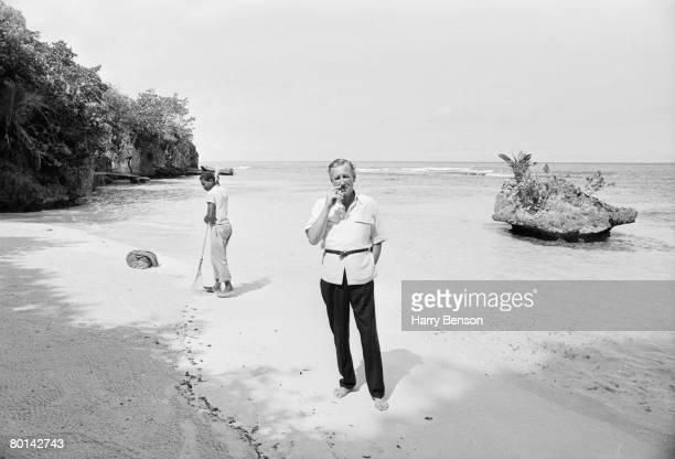 British novelist Ian Fleming on the beach near Goldeneye his Jamaica home 23rd February 1964