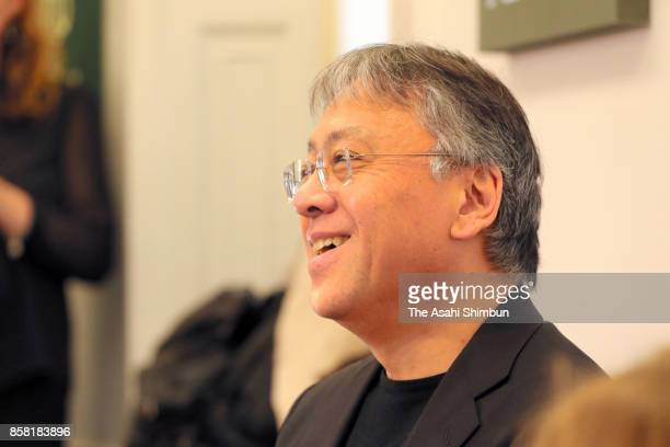 British novelist Kazuo Ishiguro speaks during a press conference after winning the Nobel Prize for Literature on October 5 2017 in London England