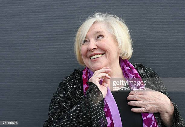 British novelist short story writer playwright and essayist Fay Weldon poses at the Frankfurt Book Fair 11 October 2007 The fair the world's biggest...