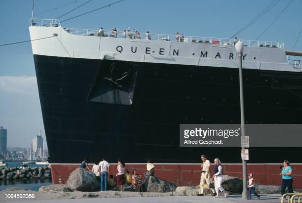 British ocean liner RMS Queen Mary docked in Long Beach Los Angeles California 1984