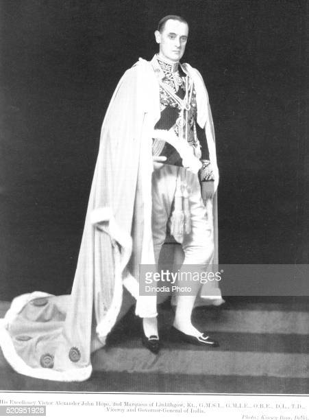 british officials, excellency victor alexander john hope, 2nd marquess of linlithgow, kt., viceroy governor general - governor stock pictures, royalty-free photos & images