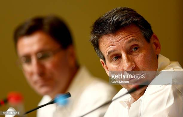 British Olympic Association chairman Lord Sebastian Coe and British Olympic Association director of communication Darryl Seibel attends a press...