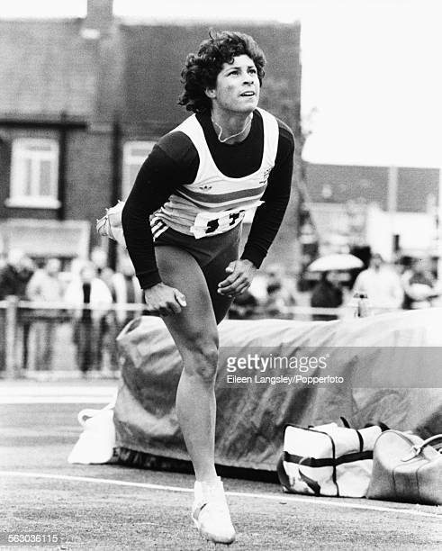 British Olympic athlete Fatima Whitbread competes in the javelin competition at the UK National Athletics Championships in Cwmbran Wales June 1984