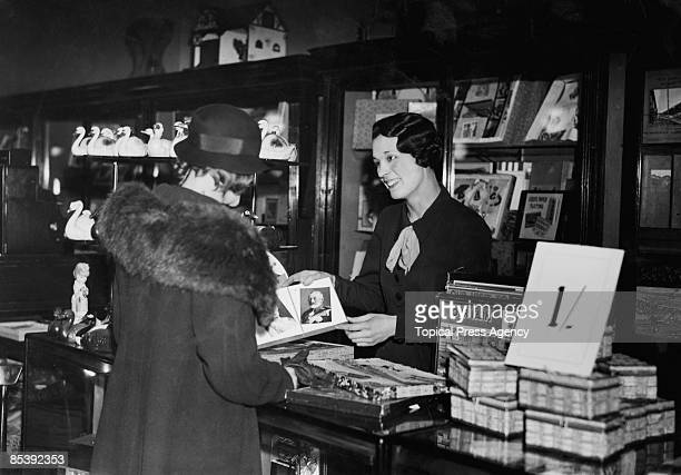 British Olympic athlete Violet Webb working at the toy counter at Selfridges department store on Oxford Street London 5th April 1935