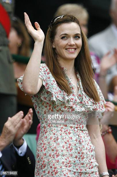British Olympic cycling gold medallist Victoria Pendleton is introduced to the crowd on Centre Court in the third round of the 2009 Wimbledon Tennis...