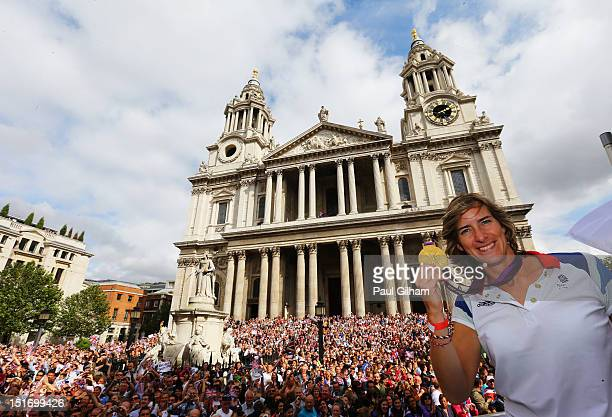 British Olympic gold medal winning rower Katherine Grainger takes part in the Olympics Paralympics Team GB victory parade through central London on...