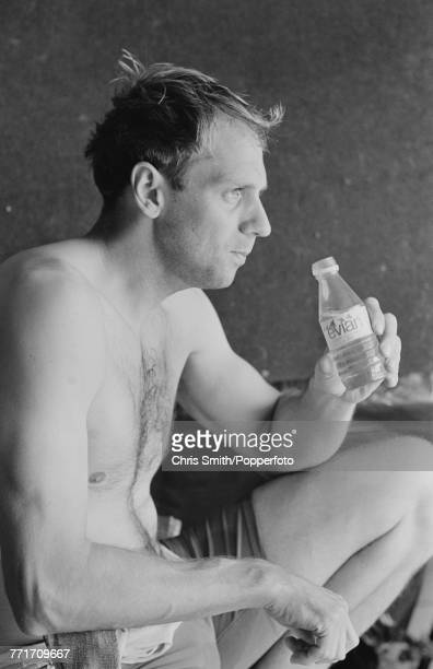 British Olympic gold medal winning rower Steve Redgrave pictured holding a bottle of Evian water during a training session in England on 6th May 1991