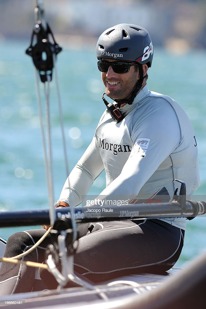 British Olympic gold medalist Ben Ainslie of Team J.P. Morgan BAR sails during a training session ahead of the AC World Series Naples on April 15, 2013 in Naples, Italy.