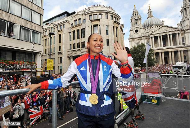 British Olympic heptathlon gold medalist Jessica Ennis during the London 2012 Victory Parade for Team GB and Paralympic GB athletes on September 10,...