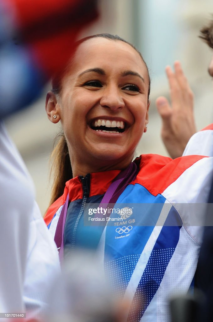 British Olympic heptathlon gold medalist Jessica Ennis smiles during the London 2012 Victory Parade for Team GB and Paralympic GB athletes on September 10, 2012 in London, England.
