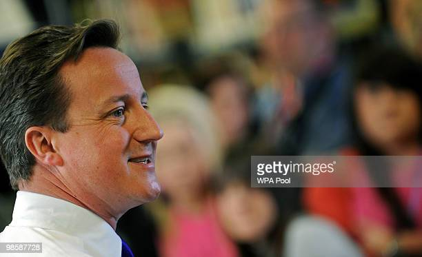 British opposition Conservative Party leader David Cameron addresses students at Cornwall College on April 21 2010 in Saltash near Plymouth southwest...