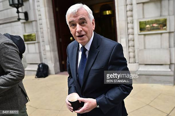 British opposition Labour MP and Shadow Chancellor of the Exchequer John McDonnell leaves from Millbank television and radio studios in central...