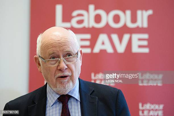 British opposition Labour party MP for Luton North Kelvin Hopkins speaks at the launch of the Labour Leave campaign in central London on January 20...