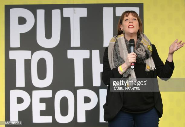 British opposition Labour Party MP Jess Phillips speaks at a rally organised by the proEuropean People's Vote campaign for a second EU referendum in...