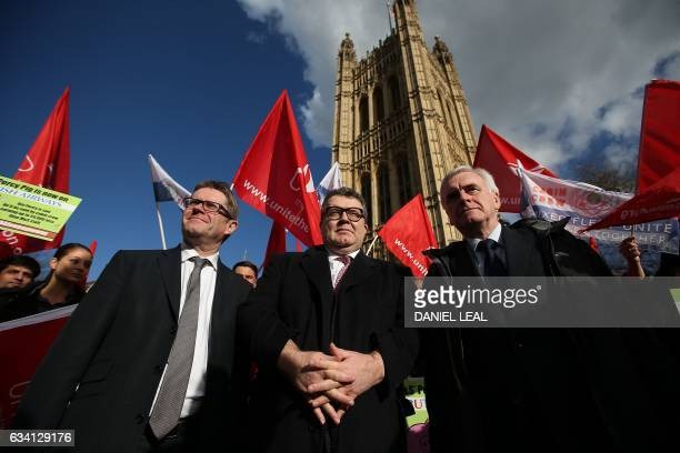 British opposition Labour party's Deputy Leader Tom Watson British opposition Labour party's Shadow Chancellor of the Exchequer John McDonnell and...