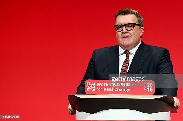 British opposition Labour party's Deputy Leader Tom Watson speaks on the third day of annual Labour Party conference in Liverpool north west England...