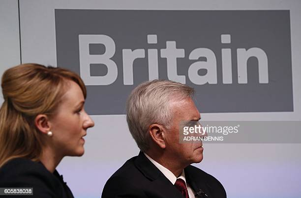 British opposition Labour party's Shadow Chancellor and Labour's Shadow Chief Secretary to the Treasury Rebecca LongBailey listen as British...