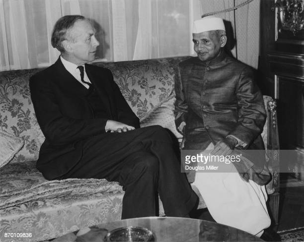 British Opposition Leader Alec DouglasHome meets Lal Bahadur Shastri the Prime Minister of India at the residence of the High Commissioner for India...