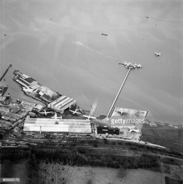 British Overseas Airways Corporation flying boat maintenance base and pier Hythe Hampshire 1948 Artist Aerofilms