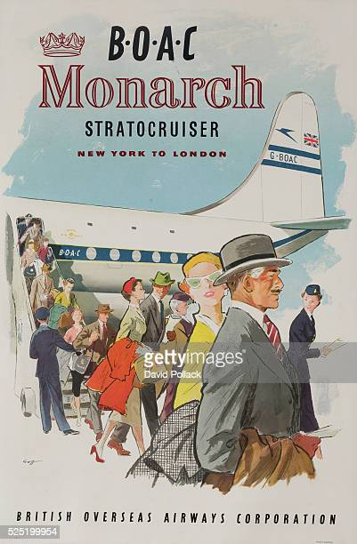 British Overseas Airways Corporation Monarch Stratocruiser New York to London stylish travelers disembarking from luxury Stratocruiser Aircraft cA...