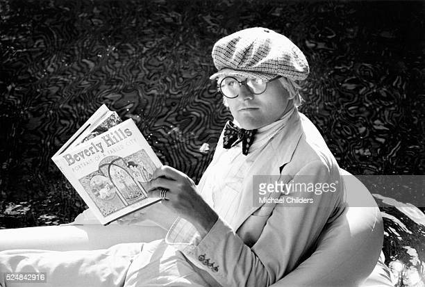 British painter draughtsman printmaker stage designer and photographer David Hockney at Rising Glen circa 1978