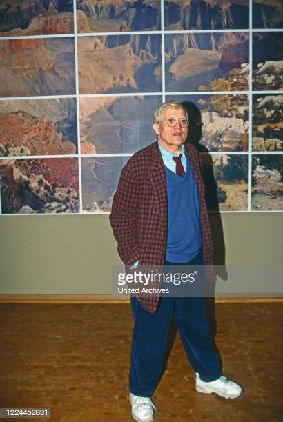 British painter graphic artist stage designer and photographer David Hockney at the opening of his retrospective at Museum Ludwig in Cologne Germany...